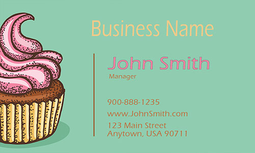 Green Sweet Cupcake Business Card - Design #1001041