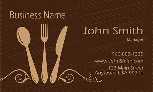 Silverware Restaurant Business Card - Design #1001121