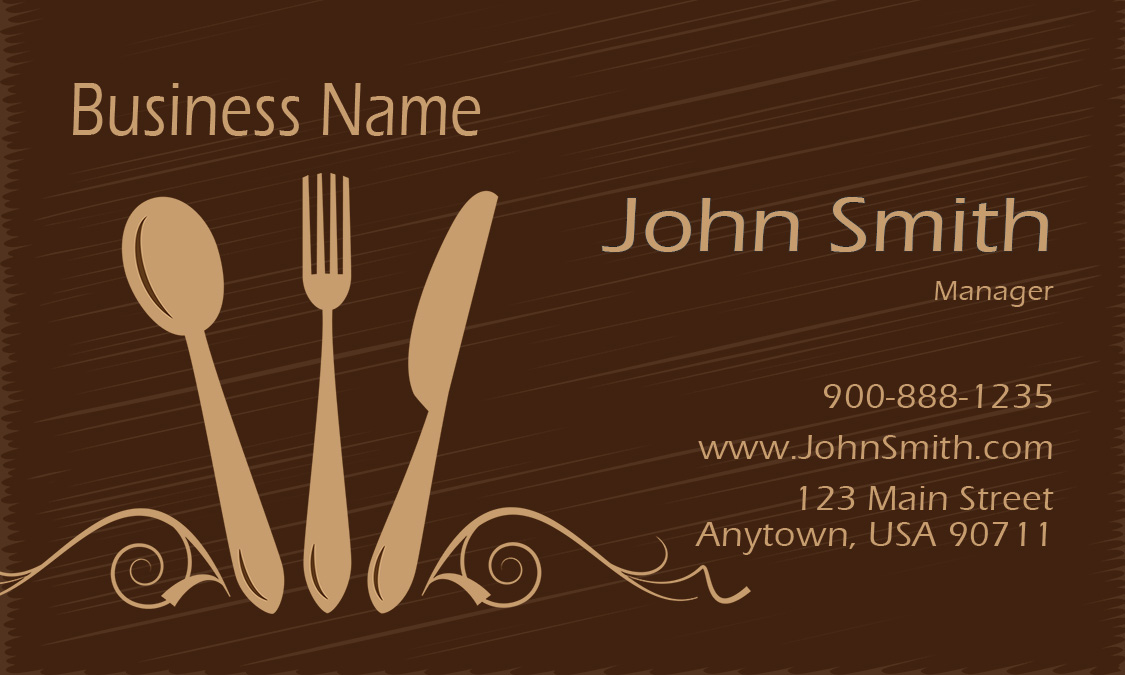 Silverware restaurant business card design 1001121 colourmoves