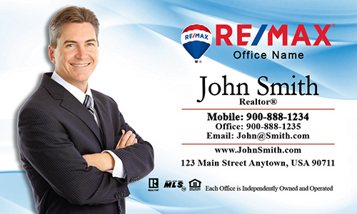 White and Blue Remax Business Card - Design #101011