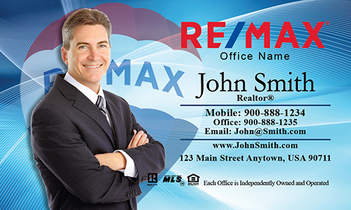 Custom Blue with Remax Balloon Business Card - Design #101023