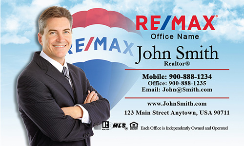 Blue Sky and Clouds with Remax Balloon Business Card - Design #101051