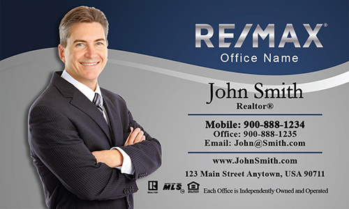 Gray and Blue Remax Business Card - Design #101071
