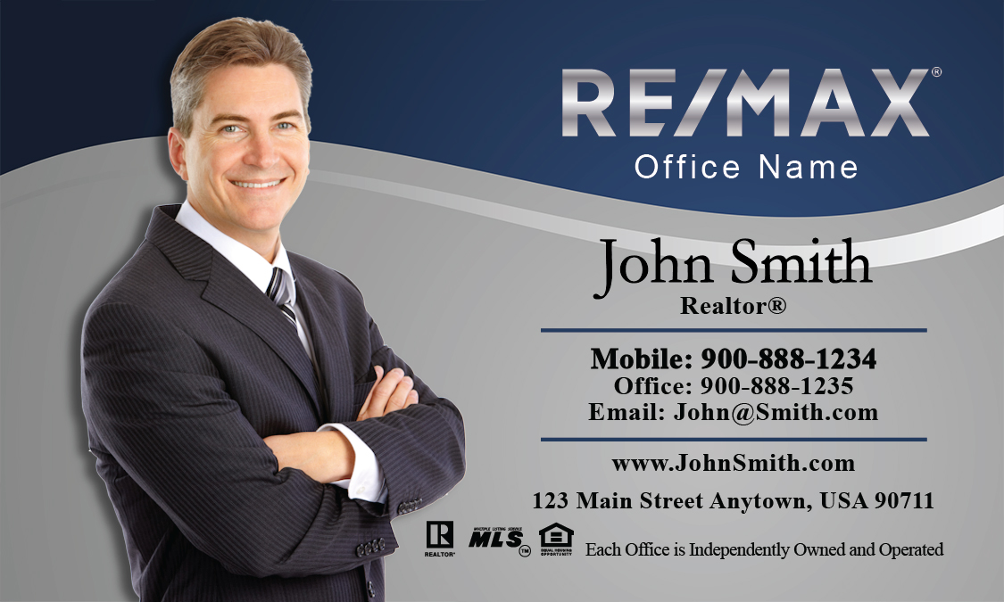 Gray and blue remax business card design 101071 colourmoves