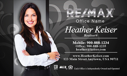 Black with Elegant Swirls Remax Business Cards - Design #101101