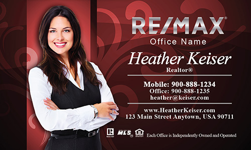 Red with Elegant Swirls Remax Business Cards - Design #101102