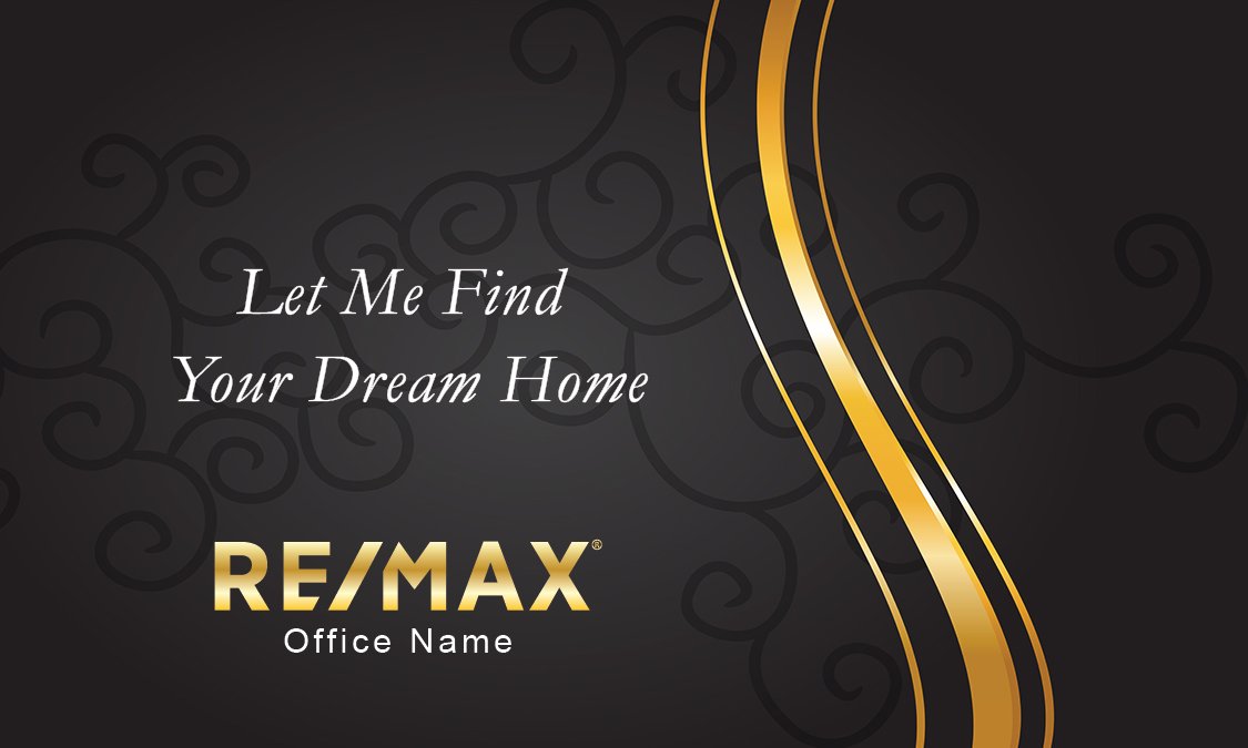 black and gold remax business card with photo design 101111
