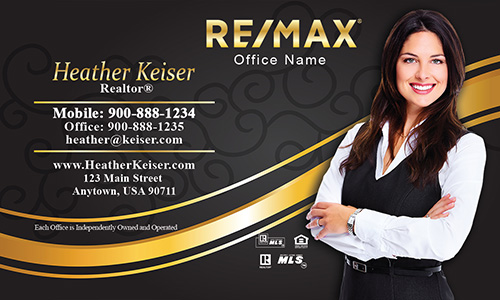 Black and Gold Remax Business Card with Photo - Design #101111