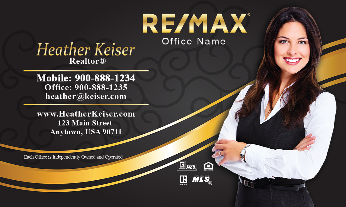 black and gold remax business card with photo