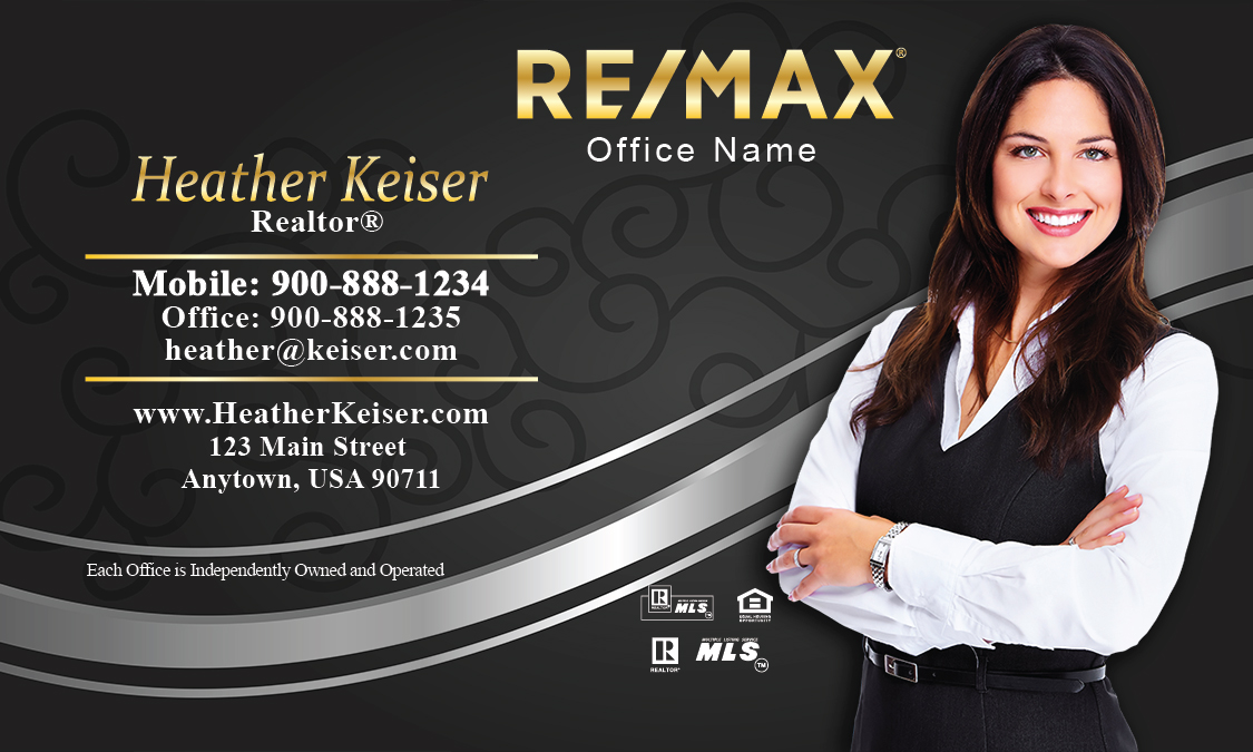 Black and silver remax business card with photo design for Remax business cards templates