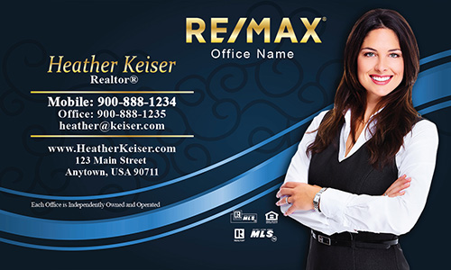 Black and Blue Remax Business Card with Photo - Design #101113
