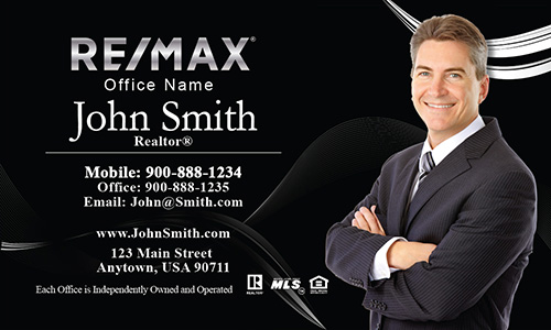 Professional Black Remax Business Card with Photo - Design #101121