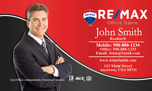 Elegant Red with Personal Photo Remax Business Card - Design #101133