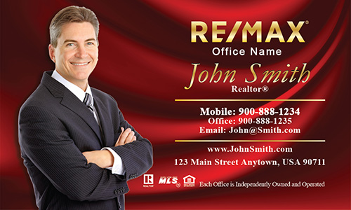Red with Gold Logo Remax Business Card - Design #101141