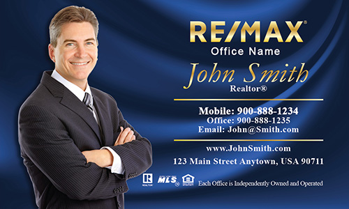 Elegant Blue Remax Business Card - Design #101142