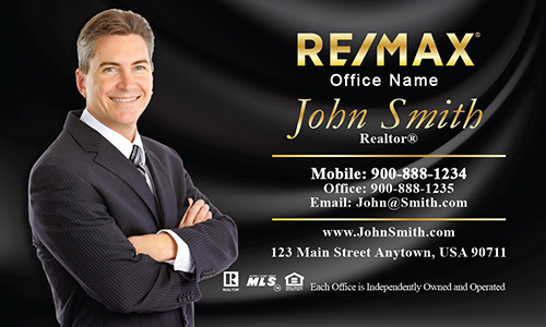Red with Gold Logo Remax Business Card Design