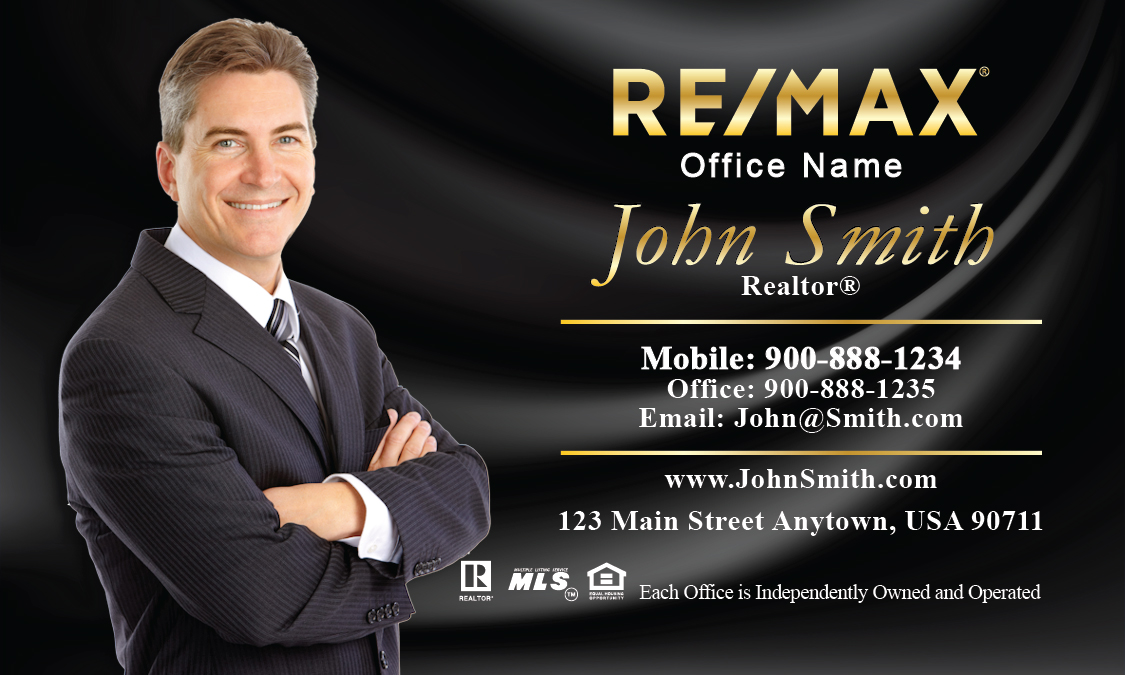 Silky black background remax business card with photo for Best remax business cards
