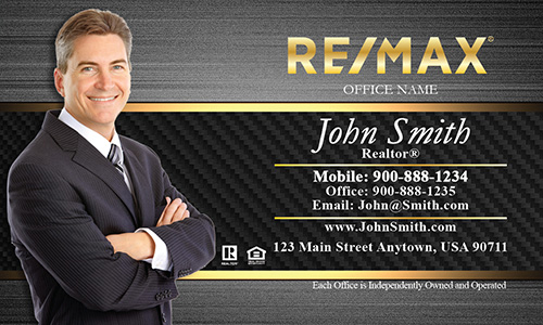 Gold Remax Logo Business Card with Agent Photo - Design #101181