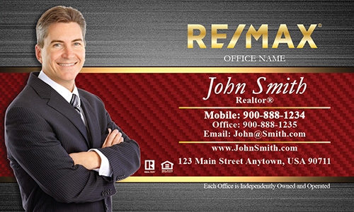 Gold Remax Logo Business Card with Realtor Photo - Design #101183
