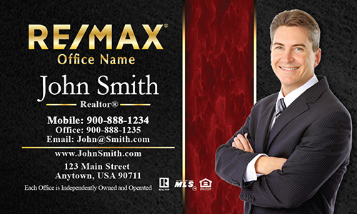 Modern Black and Red Remax Business Card - Design #101191