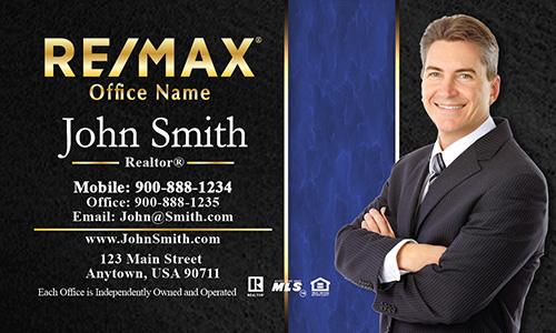 Modern Black and Blue Remax Business Card - Design #101192