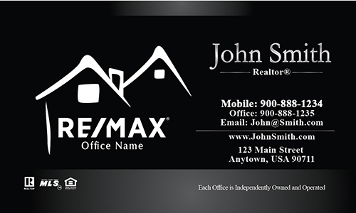 Custom Black with White Remax Logo Business Card - Design #101211