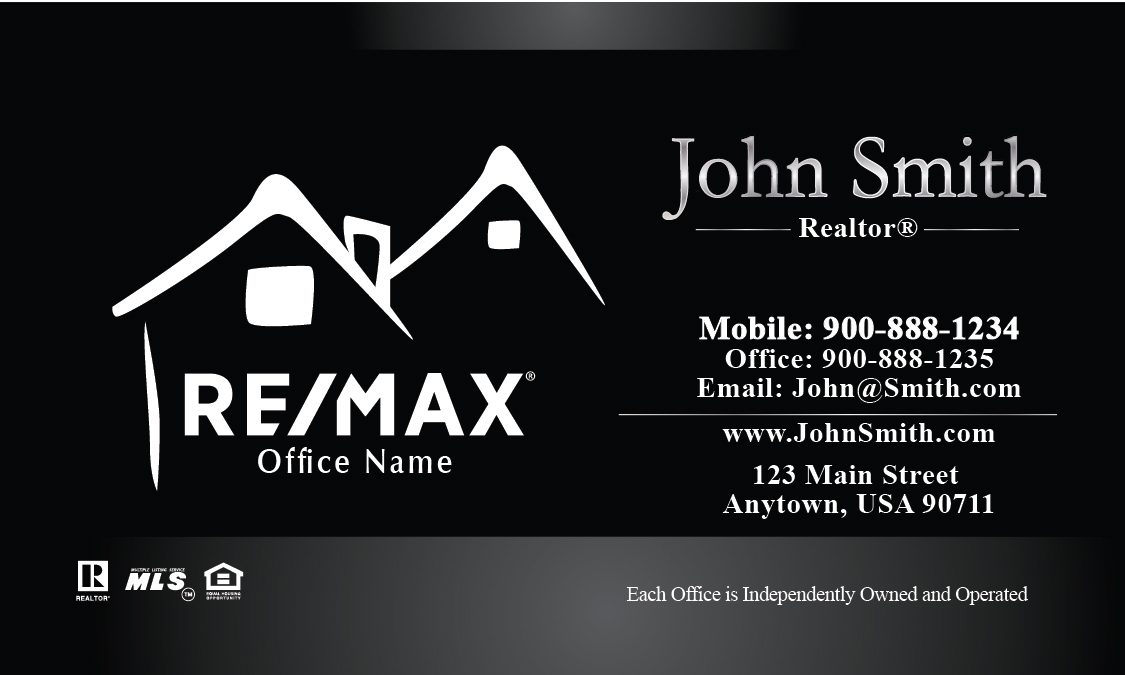 Custom black with white remax logo business card design 101211 colourmoves
