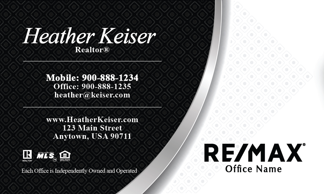 Black remax logo realtor business card design 101221 reheart
