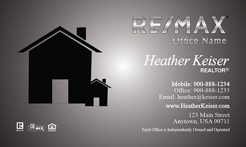 Modern Gray with Custom Remax Logo Business Card - Design #101241