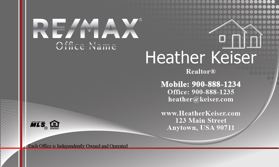 Silver Remax Logo Remax Business Card - Design #101301