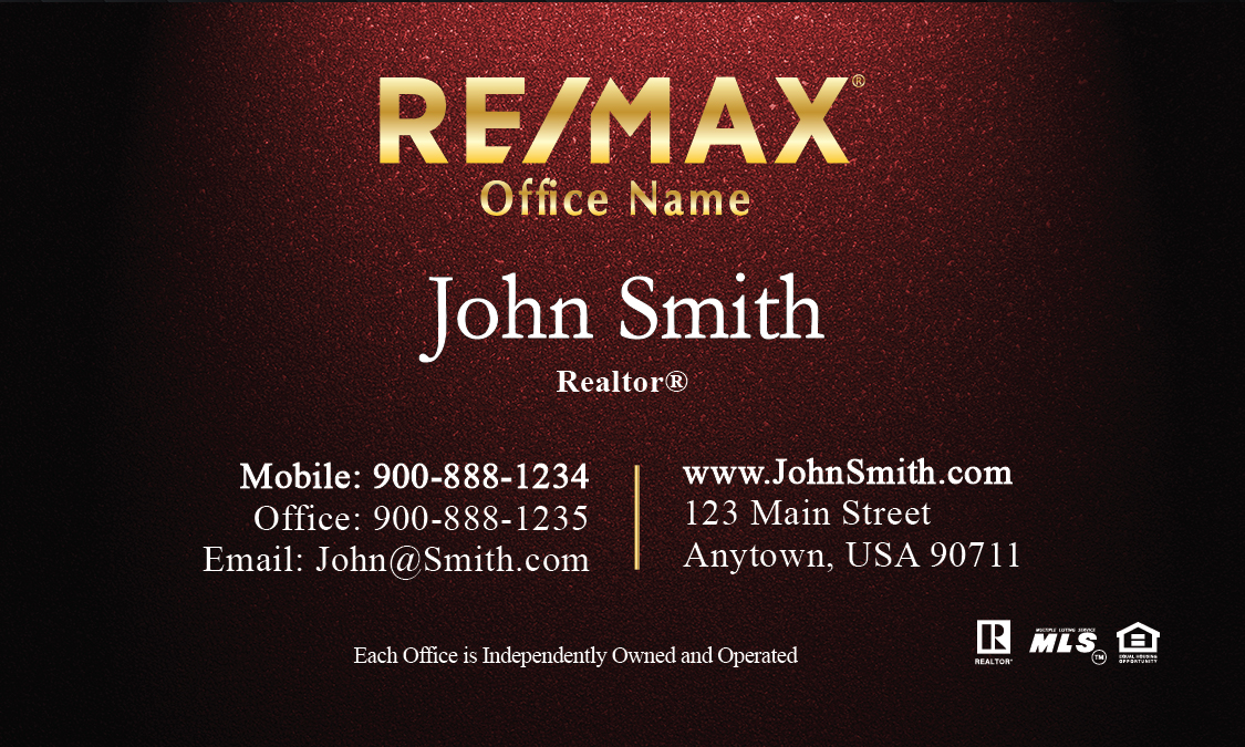 Gold remax logo red realtor business card design 101311 reheart
