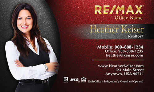 Photo Overlay Elegant Red Remax Business Card - Design #101341