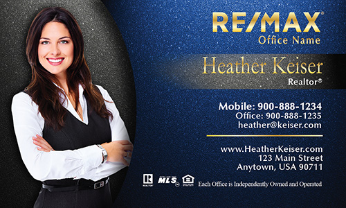 Photo Overlay Blue Remax Business Card - Design #101342