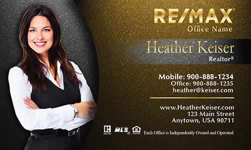 Photo Overlay Yellow Remax Business Card - Design #101343
