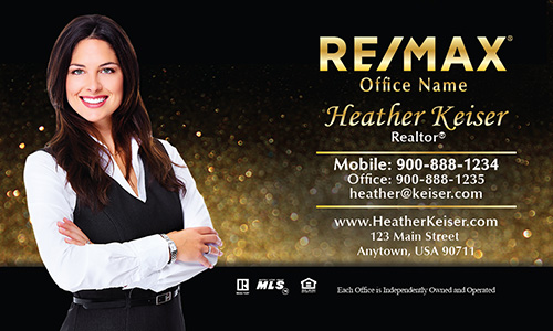Holiday Glitter Gold Remax Business Card - Design #101351