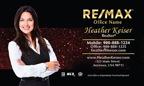 Holiday Glitter Red Remax Business Card - Design #101352