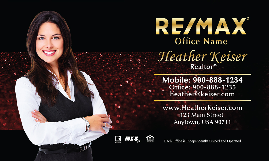 Holiday glitter red remax business card design 101352 for Remax business cards templates