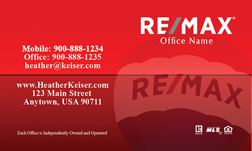 Remax Balloon Red Real Estate Agent Business Card - Design #101373