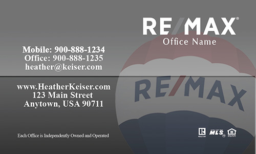 Gray Remax Balloon Realtor Business Card - Design #101374