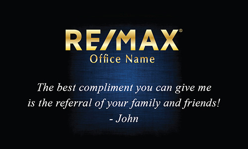 Blue with Gold Remax Logo Realtor Business Card - Design #101381