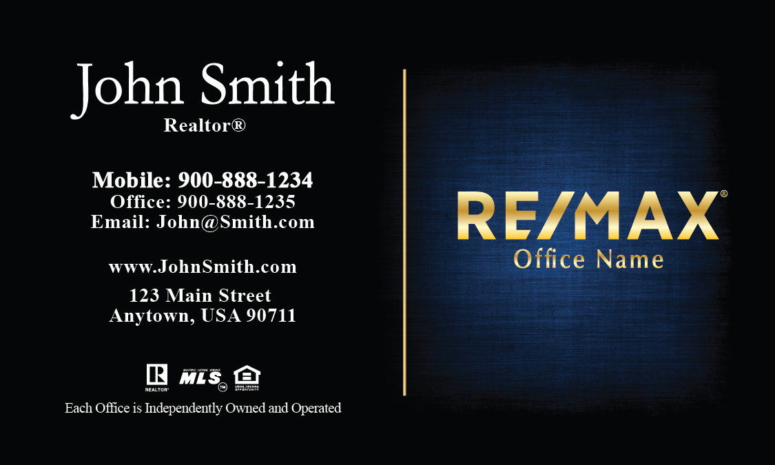 blue with gold remax logo realtor business card