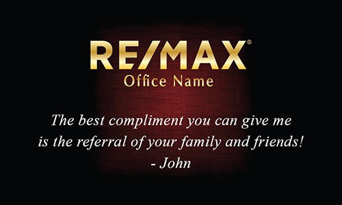 Cool Red with Gold Remax Logo Realtor Business Card - Design #101382