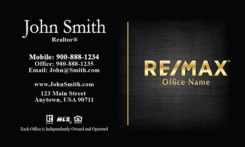 Unique Layout with Gold Remax Logo Remax Business Card - Design #101383