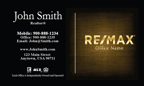 Elegant Red with Gold Remax Logo Realtor Business Card - Design #101384