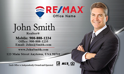 Gray and blue remax business card design 101071 silver stainless remax business card with photo design 101391 flashek Choice Image