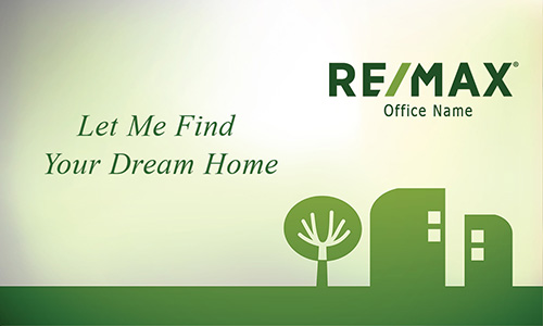 Green Abstract Tree and House Remax Business Card - Design #101401