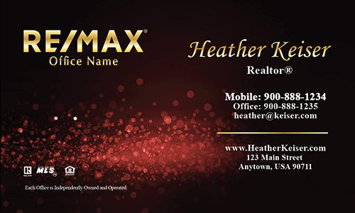 Red Glitter Remax Business Card - Design #101431