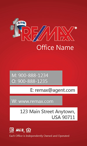 Remax Business Card Vertical Red - Design #101443