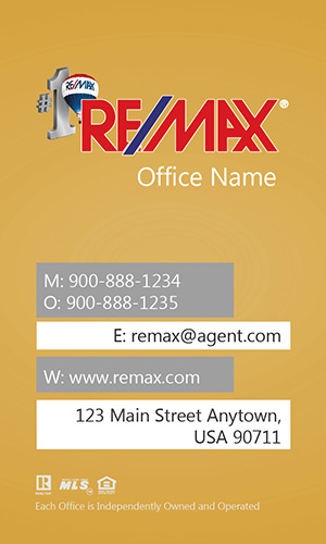 Vertical Remax Business Card with Head Shot - Design #101444