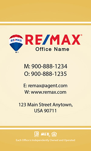 Vertical Remax Realtor Business Card - Design #101464
